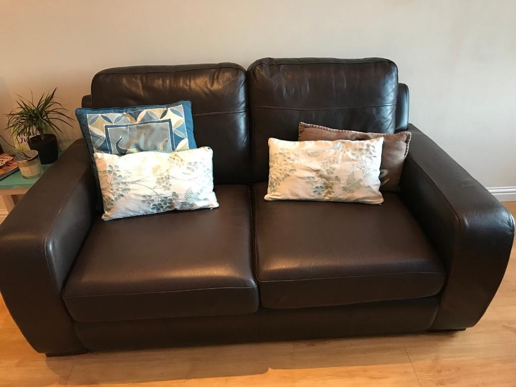 leather 3 seat sofa bed cheap sofas online ebay brown real seater couch in inverness