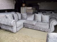 silver crushed velvet corner sofa with swivel chair silver ...