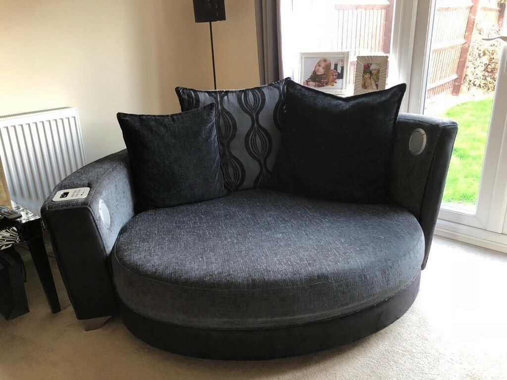 extra large round sofa professional cleaning cuddle love chair black and grey in hilton