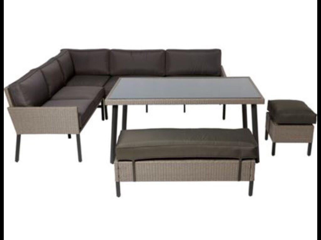 rattan effect garden corner sofa set bolia betong sofabord palermo in
