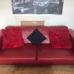 Red Leather Two Seater Sofa Vintage Style Sofas For Sale 3 432 In Granton