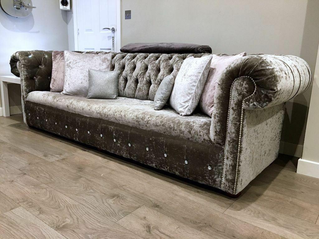 crushed velvet grey sofa bed modern modular sectional bespoke 2 seater settee silver