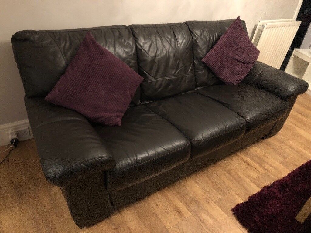 leather sofa brown dfs down filled toronto 3 seater from in hebburn tyne and wear