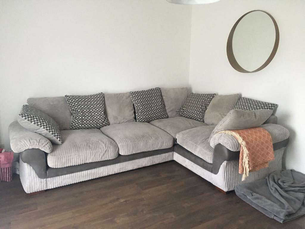 dfs corner sofa grey fabric bed with storage sold couch suite in