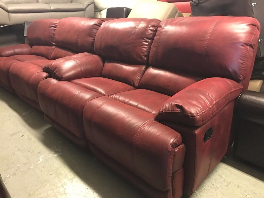 Harveys Guvnor Recliner 3 and 2 Seater Sofa Set Red Maroon Suede Type Fabric Three Plus Two  in