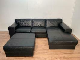 Black genuine leather corner sofa set with free delivery ...