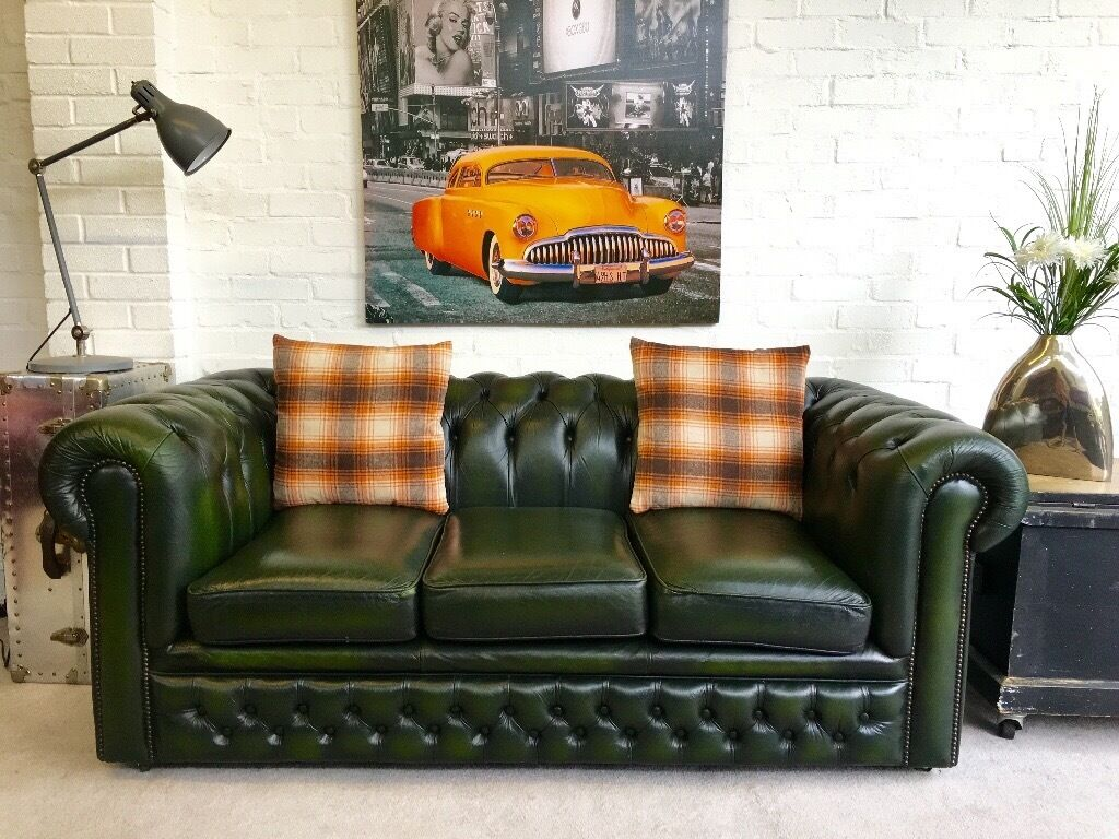 chesterfield sofa gumtree ni navy blue chair beautiful racing green leather can