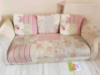 Shabby Chic Sofa Vintage Pink White Oval Canape In Louis