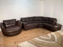 Brown real leather corner sofa set with free delivery ...
