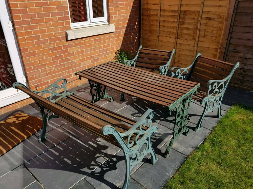 metal garden table chairs chair covers vintage wrought iron and wood furniture set