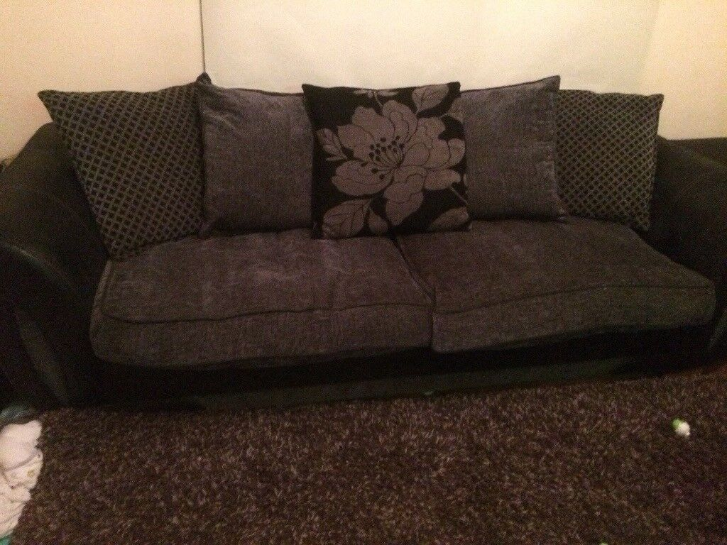 grey leather chesterfield sofa dfs blue living room brown shannon 4 seater black and | in rochester ...