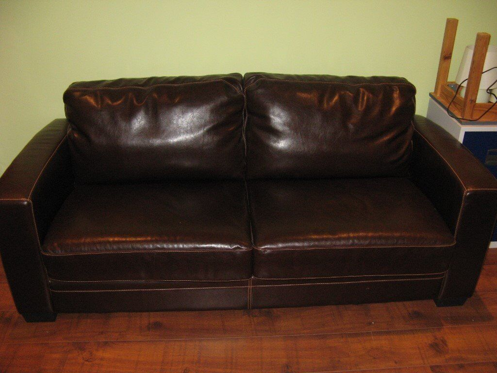 sofa bed reviews comfortable dog beds canada warm brown leather makes into generous 4ft 6 good condition in barton on sea hampshire gumtree