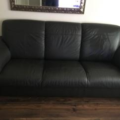 Dark Green Leather Sofa Twill Slipcover 2 Piece Ikea Timsfors Real In Colour