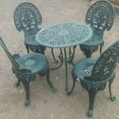 Green Metal Bistro Chairs Cushion For Office Chair Lovely Vintage Very Ornate Cast Table And 4
