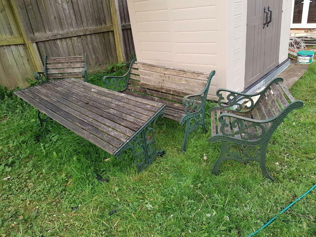 cast iron table and chairs gumtree flip sleeper chair heavy garden furniture set in west park