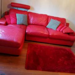 Leather Sofas Second Hand Glasgow Sectional Sofa Grey Red Real In Summerston Gumtree
