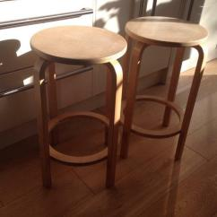 Kitchen Breakfast Bar Stools Canisters Cream Wooden Top X2 In Luton