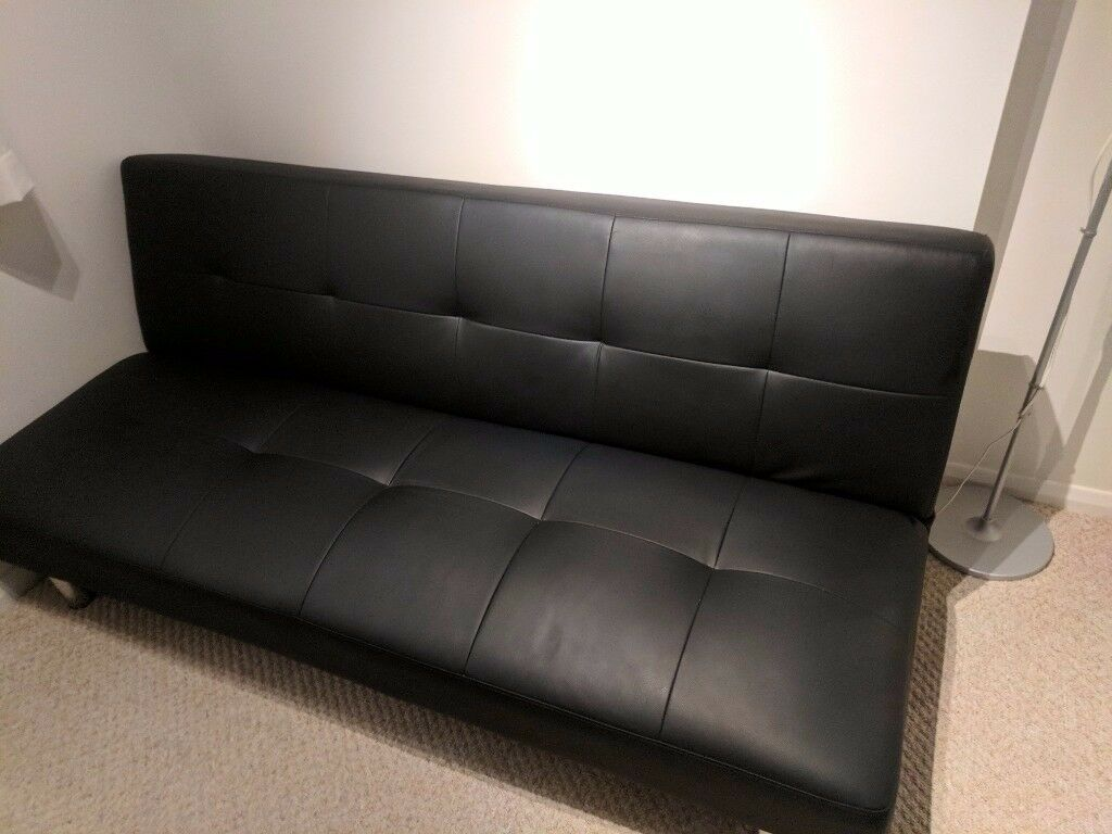 sofa bed black faux leather sectional denver in mosborough south