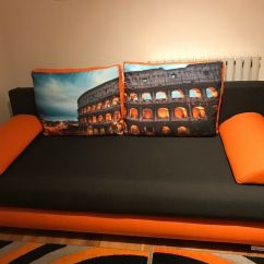 Orange And Black Sofa Bed Concord Lay Flat Reclining Double With Storage Inside In Cricklewood London Gumtree