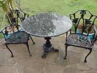 MARBLE TOP TABLE WITH CAST IRON BASE + 2 CAST IRON CHAIRS ...