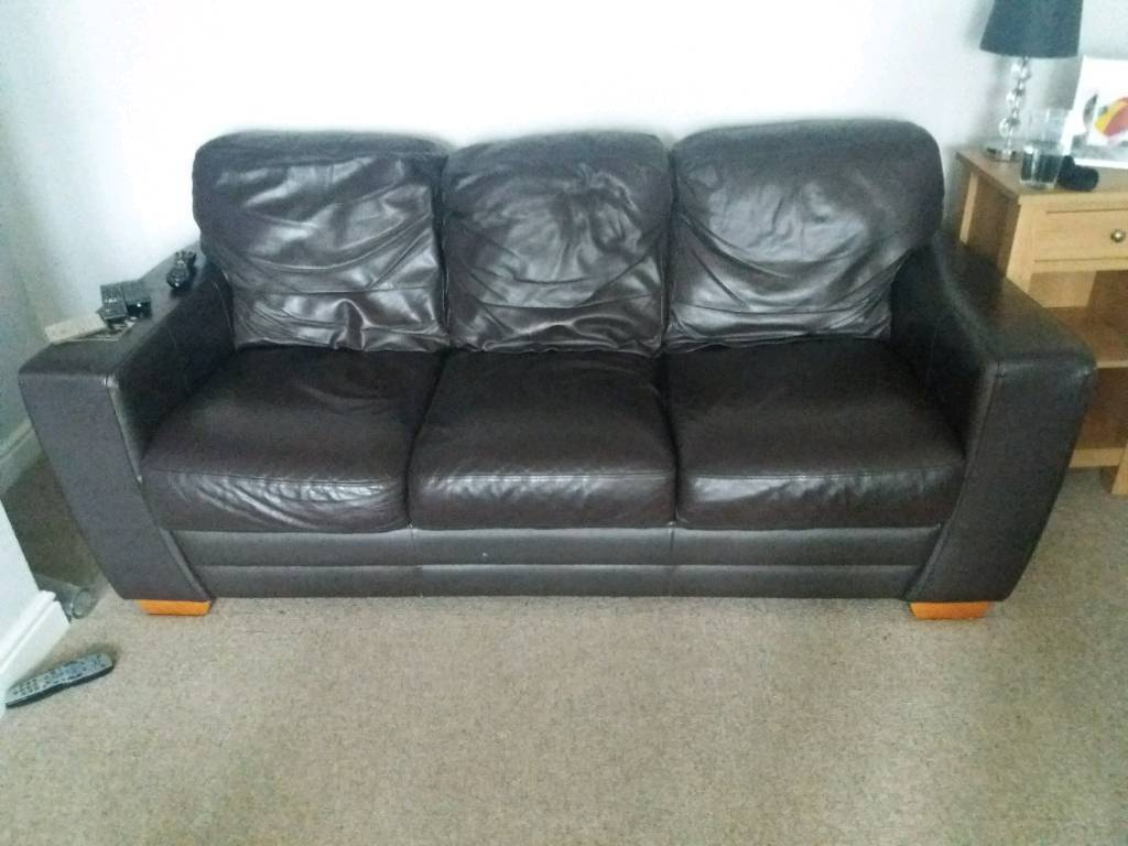 cheap brown leather 2 seater sofa high end sofas vancouver 3 dark real in warmley