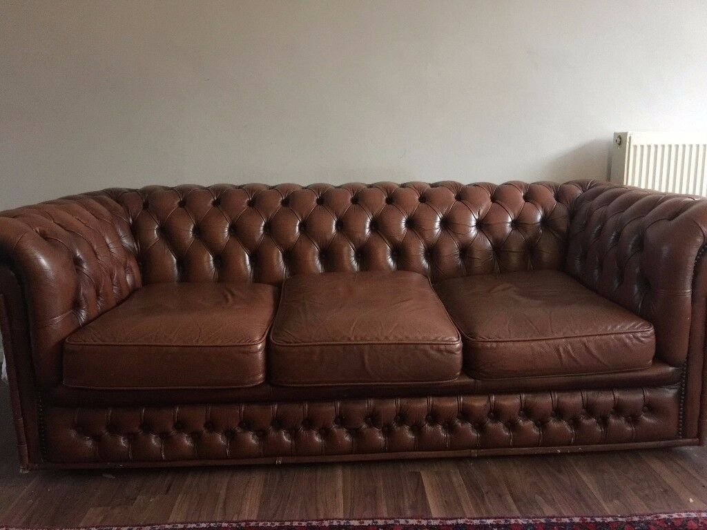 brown leather studded sofa mah jong price uk vintage chesterfield real 3 seater