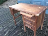 Antique Mid Century Wooden Single Pedestal Desk - Drop ...