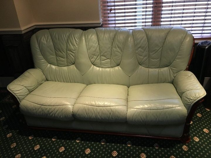 Leather Sofas Two And Three Seater Mint Green Good Condition Must Go