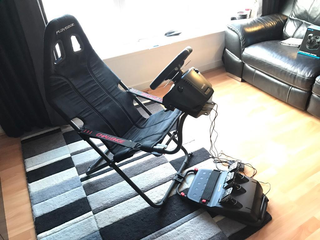racing simulator chair hydraulic uk indoor swing with stand playseat challenge cockpit 43 logitech g920