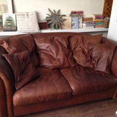 Squashy Sofas Uk Reclining Conversation Leather 3 Seater Sofa With Loose Cushions In Wimbledon
