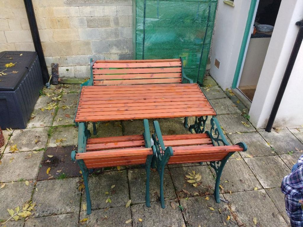 cast iron table and chairs gumtree vanity stool chair uk wood garden furniture set in tewkesbury