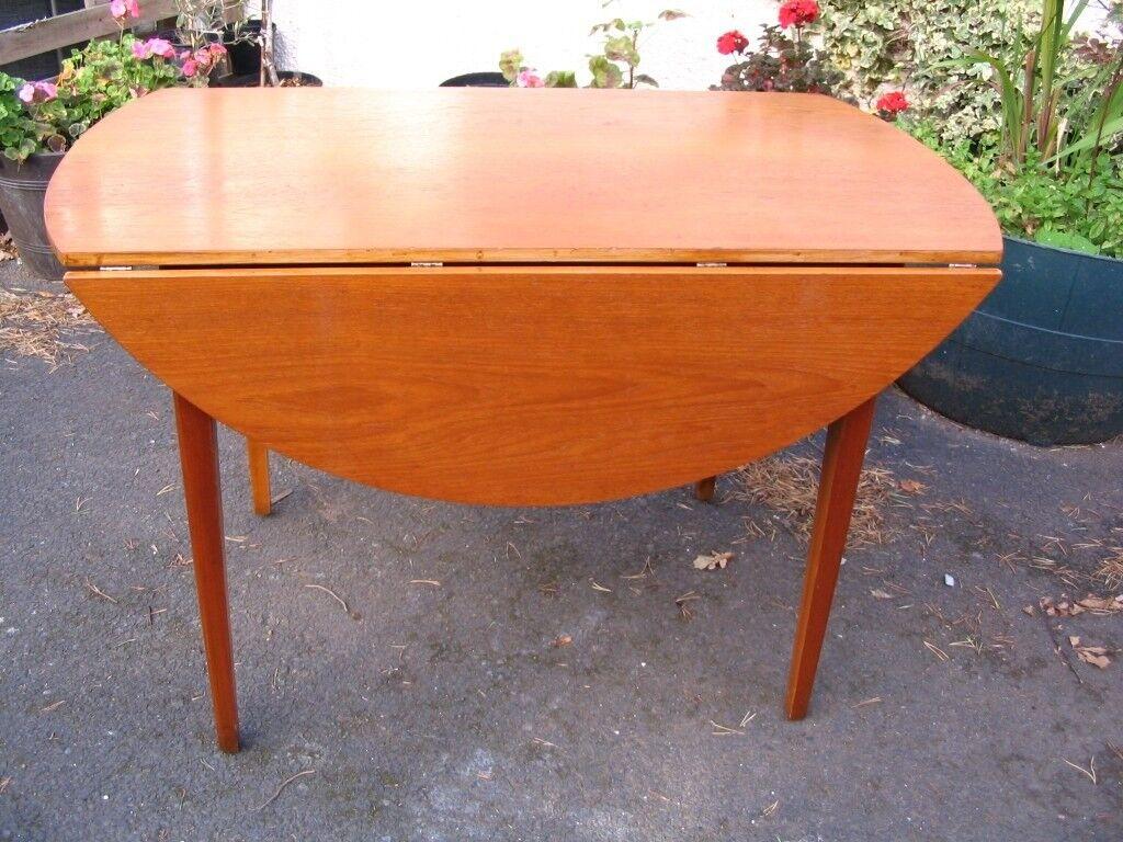 retro kitchen table 18 inch doll furniture danish design dining 6 seats round circular drop leaf teak mid century