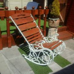 Cast Iron Outdoor Chairs Indoor Rattan And Table Vintage Garden Rocking Chair In Haydock
