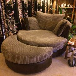 Swivel Chair And A Half Distressed Leather Club Dfs Cuddle With Moon Stool 3 Seater