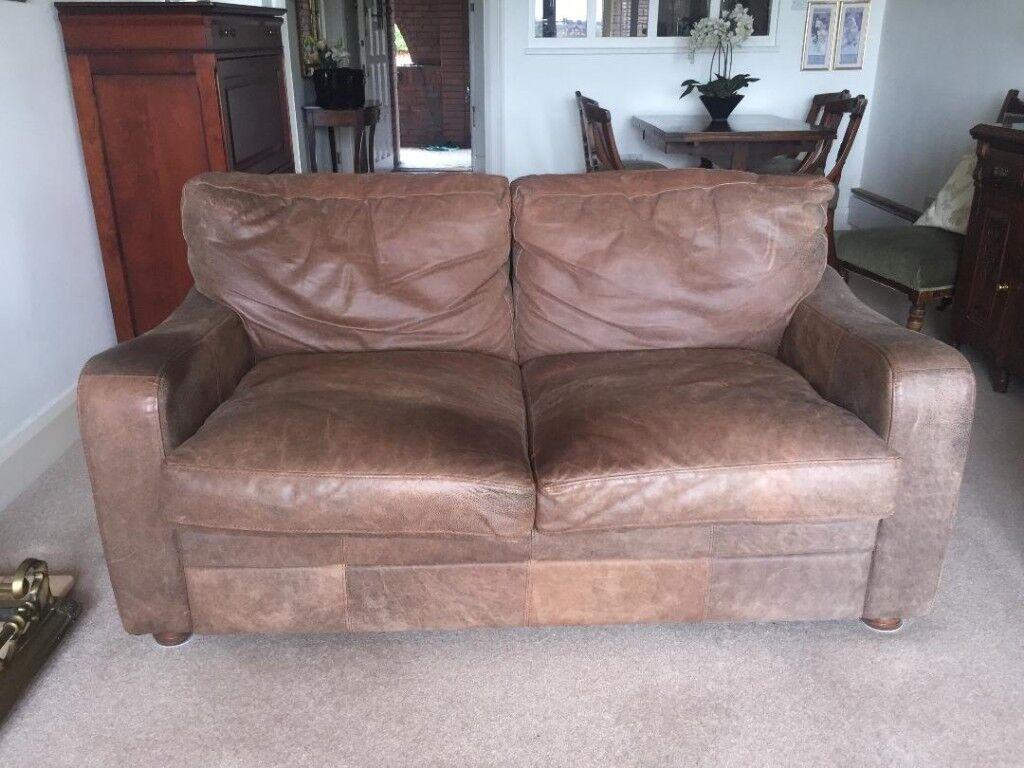 Beautifully Worn Brown Shabby Chic Medium 2 Seater Leather Sofa In Chester Cheshire Gumtree