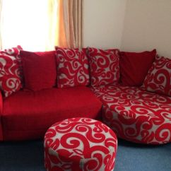 Dfs Red Leather Corner Sofa Bed Hide A Bunk Poise In Northampton