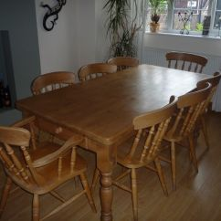 Western Kitchen Table Mission Cabinets Pine 6ft X 3ft Farmhouse Dining With Eight Chairs Open To Sensible Offers