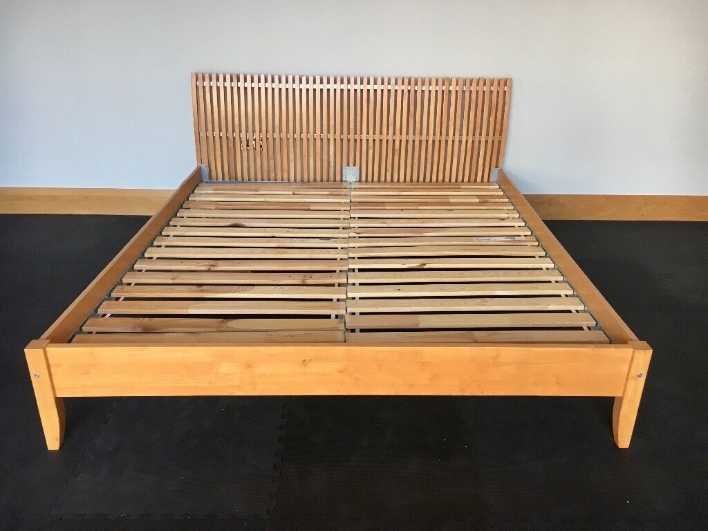 Ikea Super King Size Wooden Bed Frame With Slats