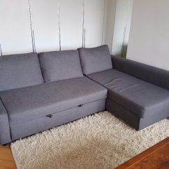 Grey Fabric Corner Sofa Bed Jcpenny Ikea With Storage Friheten In