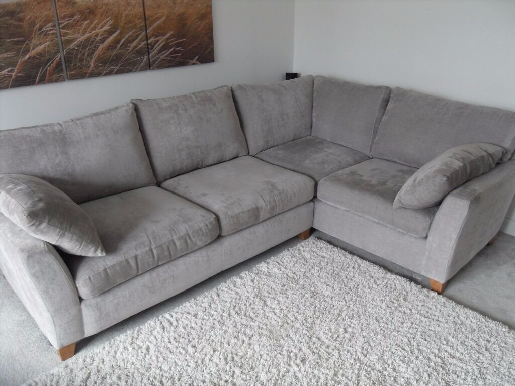grey fabric sofa next charlie cort alexis right hand corner sumptuos mid silver under a year old