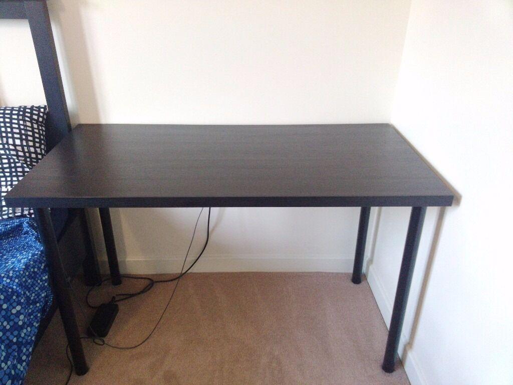 Black wooden desk IKEA LINNMON withm metal legs ADILS