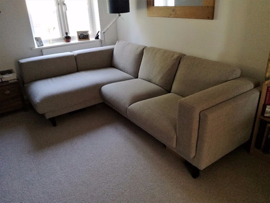 sofa 10 year guarantee thick mattress bed uk like-new condition: ikea nockeby with chaise longue ...