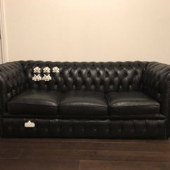 Grey Leather Chesterfield Sofa Dfs 10ft Table 3 Seater Black Sofa. Refurbished ...