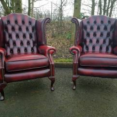 Oxblood Leather Wing Chair For 2 Month Old Pair Chesterfield Genuine Wingback Chairs Excellent Condition Bargain