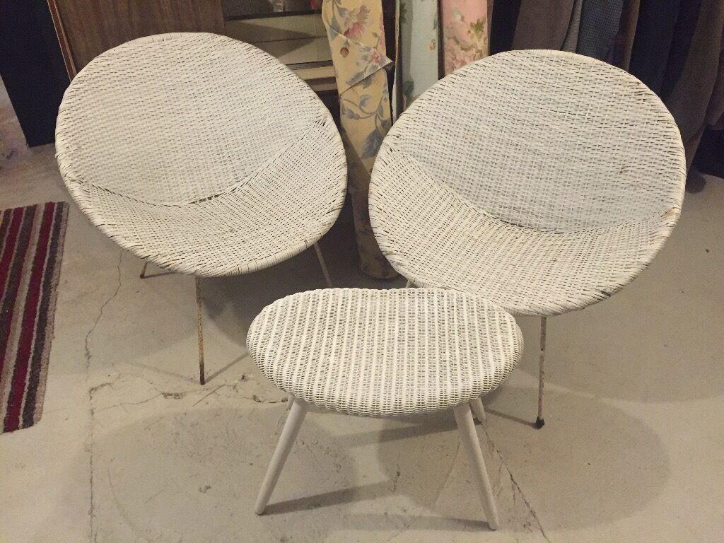 metal tub chairs staples aero plus ergonomic office chair original 1960s pair of white plastic wicker sputnik legs foot stool