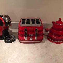Red Kitchen Appliances Wood Cart Kettle Toaster Coffee Maker Storage Jars