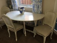 Oval White / Cream Folding Dining Table and 4 Upholstered ...