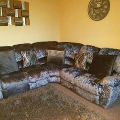 Crushed Velvet Grey Sofa Bed Value City Furniture With Chaise Silver Recliner Corner In St