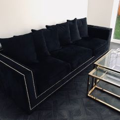 Leather Sofas Second Hand Glasgow Feather Sofa Haworth Black Velvet Studded And Matching Gold Table | In ...