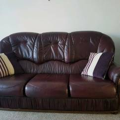 Tuscany 3 Seater Leather Sofa Fancy Cushion Covers Italian Real In Hatfield